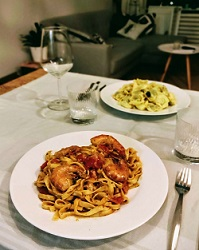Le Due Sicilie Italiaans restaurant Amsterdam Oost President Steynstraat spaghetti250
